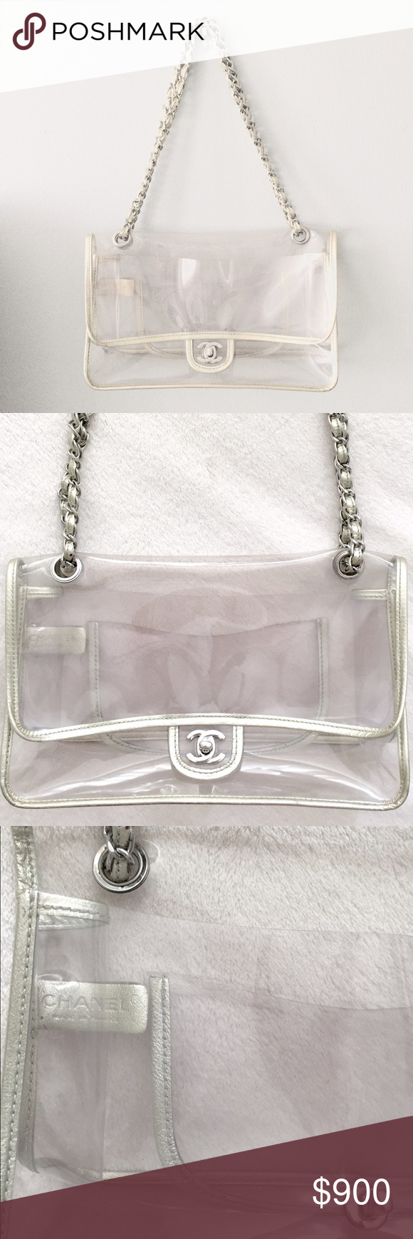 f2614d371231 CHANEL Clear Flap Bag Chanel transparent flap bag with silver metallic trim  and brushed silver hardware