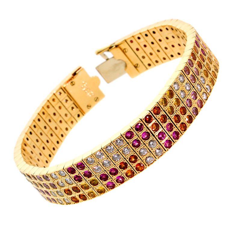 Cartier Lanieres Multicolor Fancy Sapphire Diamond Gold Bracelet