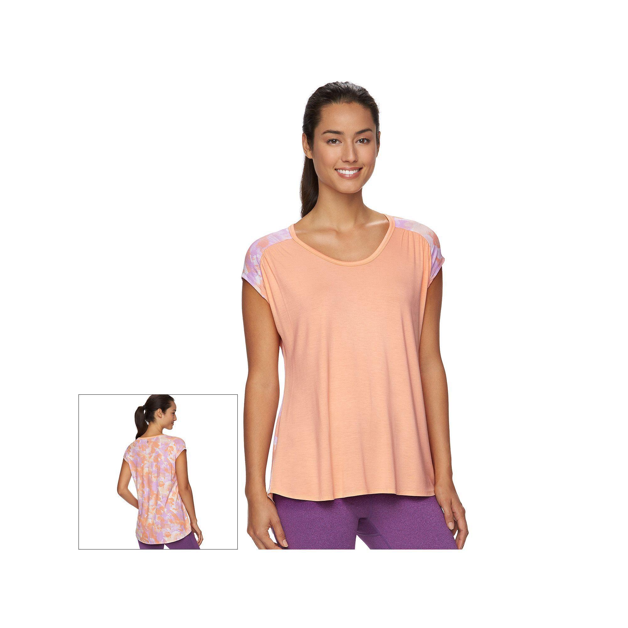 Women's Gaiam Reflect Hi-Low Tee, Size: XS, Orange Oth