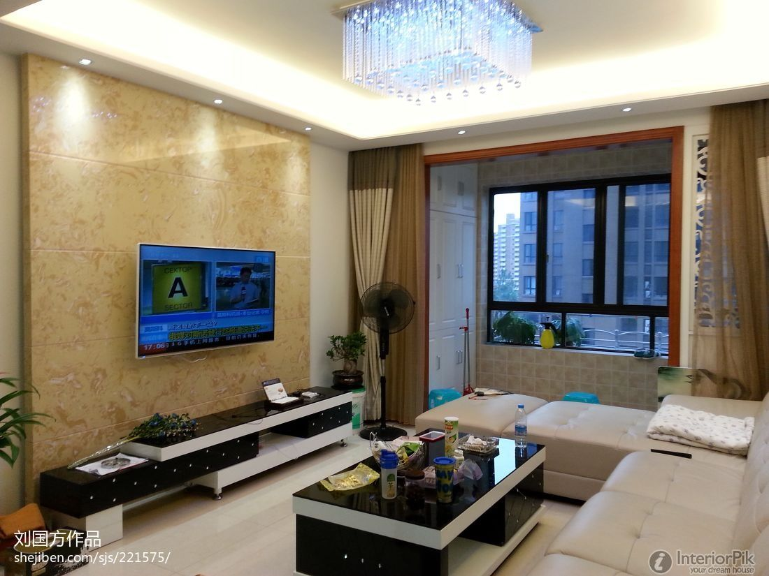 Modern style living room tv back modern interior design for Modern small apartment interior