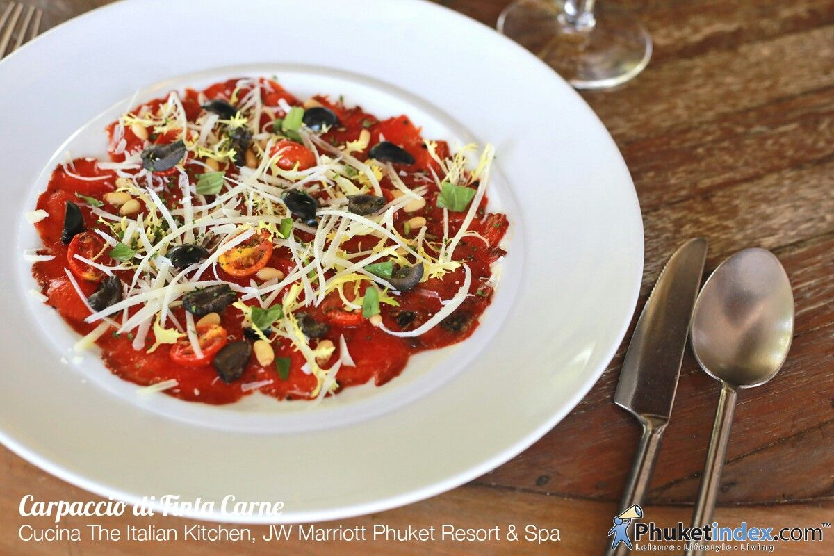 Jw Marriott Phuket Cucina Restaurant Carpaccio Di Finta Carne Cucina The Italian Kitchen Jw Marriott
