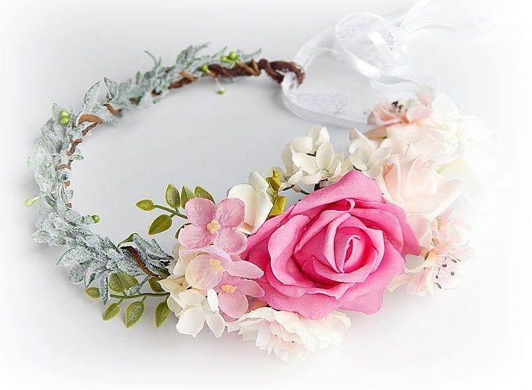 Wianek Na Glowe Korona Sesja Ozdoba Slub Kwiaty 6156175381 Oficjalne Archiwum Allegro Floral Wreath Floral Wreaths