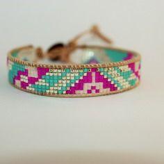 Bracelet tissé perles miyuki plaqué argent rose bleu kheira