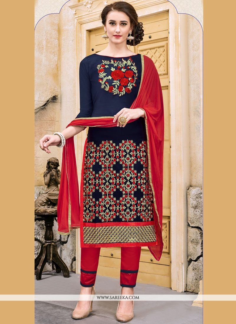 95e74d244a0c Attract compliments by this navy blue cotton churidar suit. This ravishing  attire is amazingly embroidered with embroidered work. Comes with matching  bottom ...