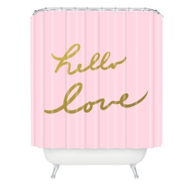 DENY Designs Lisa Argyropoulos Hello Love Shower Curtain In Pink