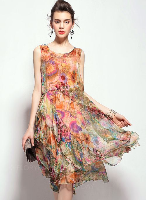 44786e089d30 Dresses -  69.09 - Green Red Silk Floral Sleeveless Knee-Length Dresses  (1955096520)