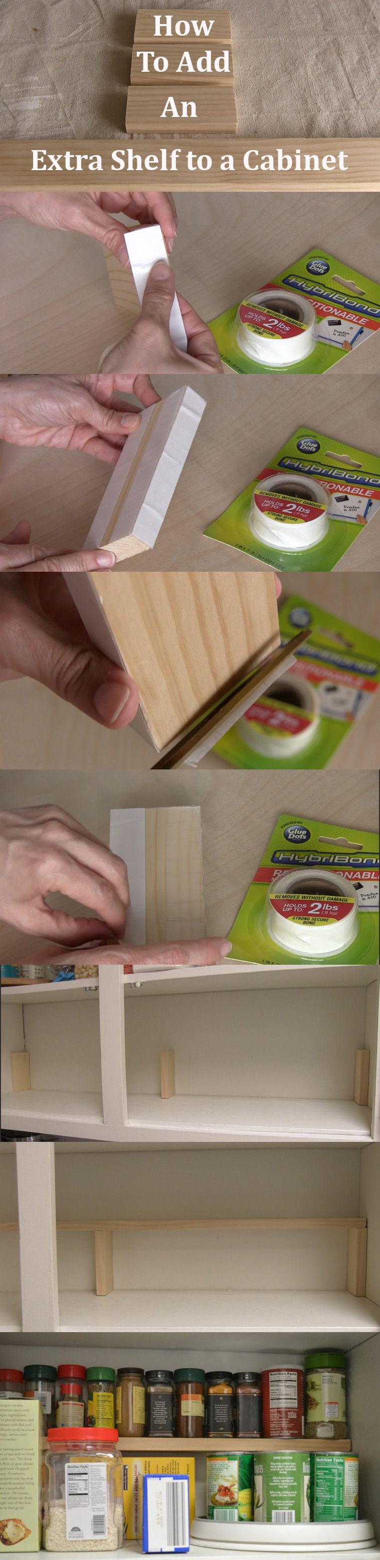 Don T Let That Vertical Space In Your Cabinet Go To Waste Isabelle Larue Shows You How To Quickly Add An Extra Shelf In A Cabinet Thi For The Home Diy