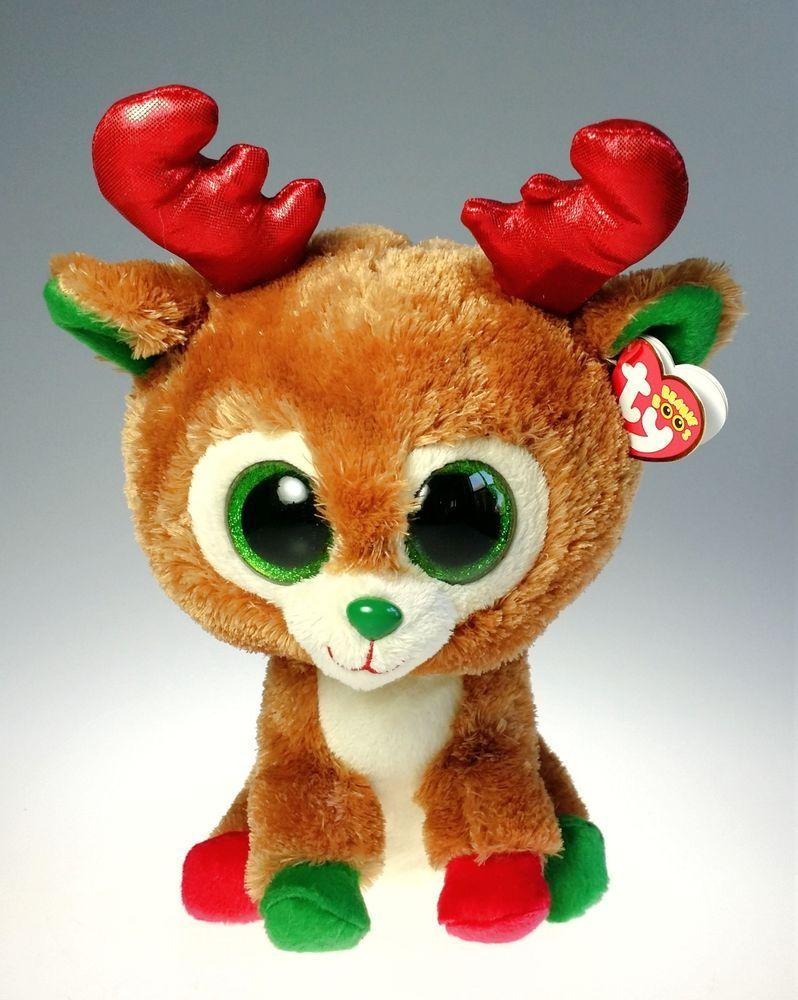 TY Beanie Boo - Alpine the Reindeer Glitter Eyes, Red & Green Feet 12 inch MWT #Ty