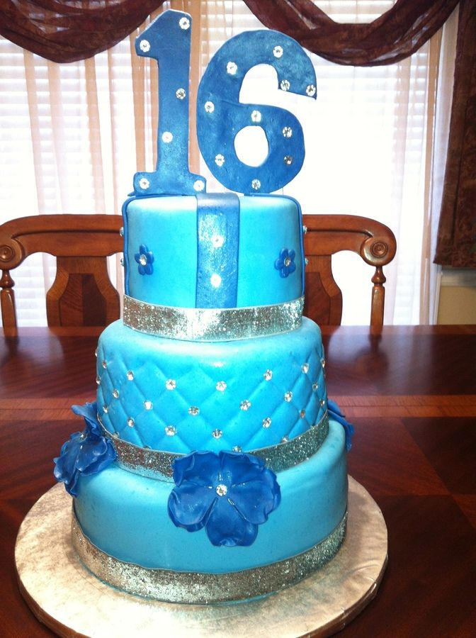 Blue Sweet  Cakes Denim And Diamonds Sweet   Birthday Cakes - Sweet 16 birthday cakes