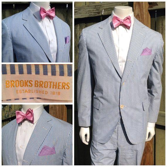Mens BROOKS BROTHERS SEERSUCKER Suit -- Wedding Suit -- Summer Suit ...