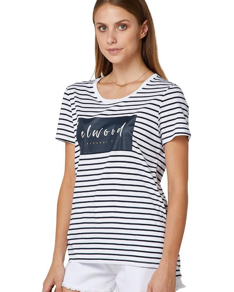 25c560adf0fa Elwood Jenna Tee - Stripe is a cotton viscose blend with striped body and  front