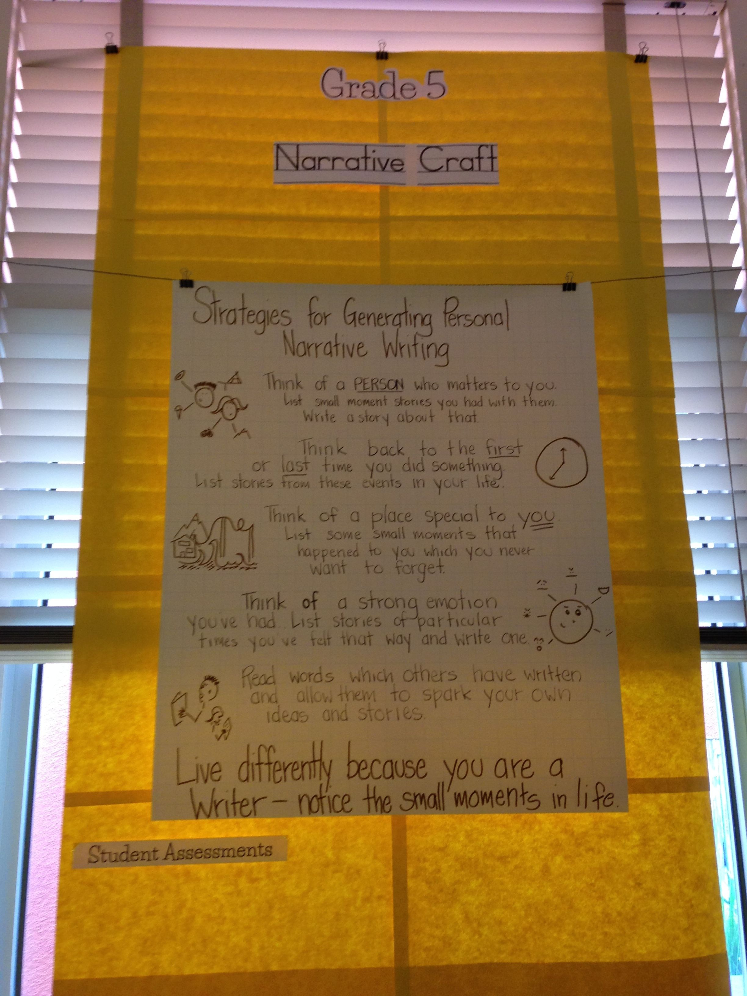 Fifth Grade Anchor Chart For Narrative Craft Unit From