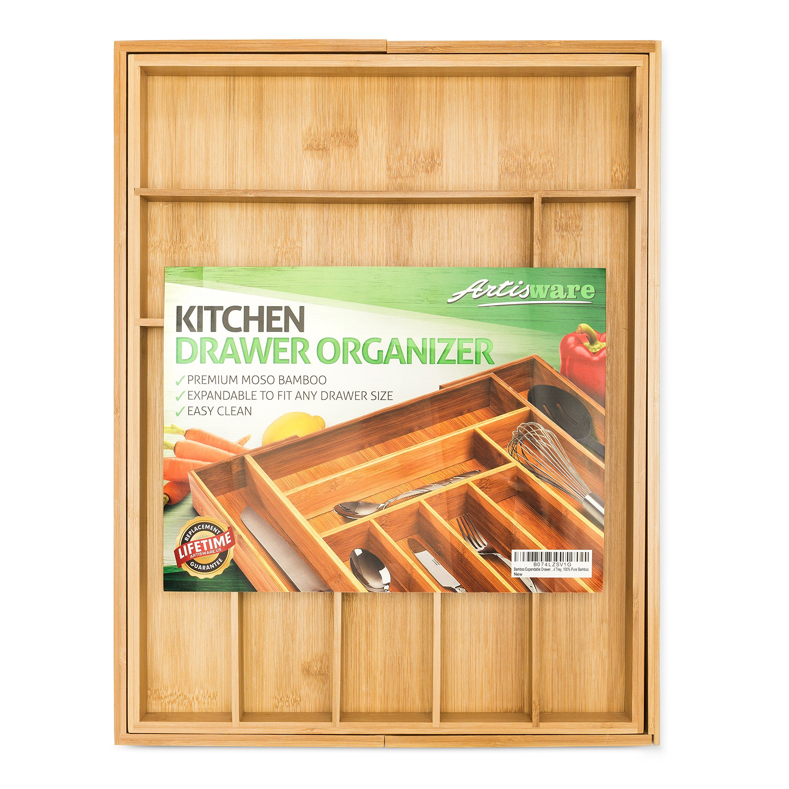 Bamboo Expandable Drawer Organizer, Premium Cutlery and