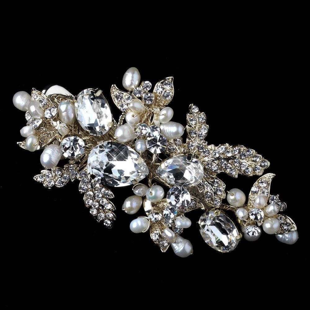 Rebecca Light Gold Freshwater Pearl and Rhinestone Leaf Wedding Bridal Hair Clip * Want additional info? Click on the image.