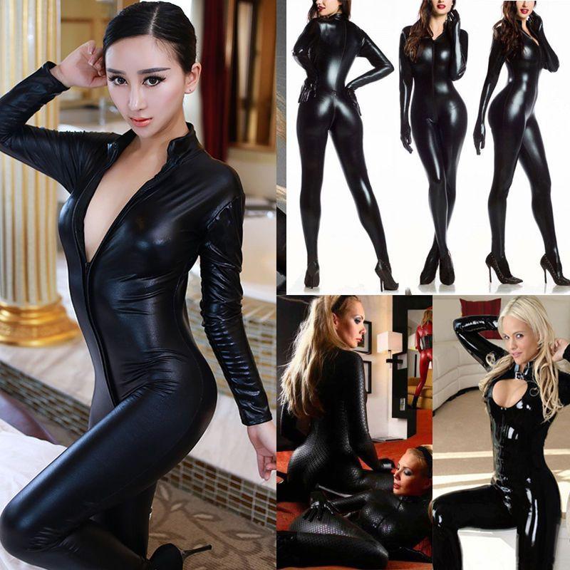 16f93e655f Ladies Wetlook Vinyl PVC catsuit bodysuit Jumpsuit clubwear Zipper Front  Costume