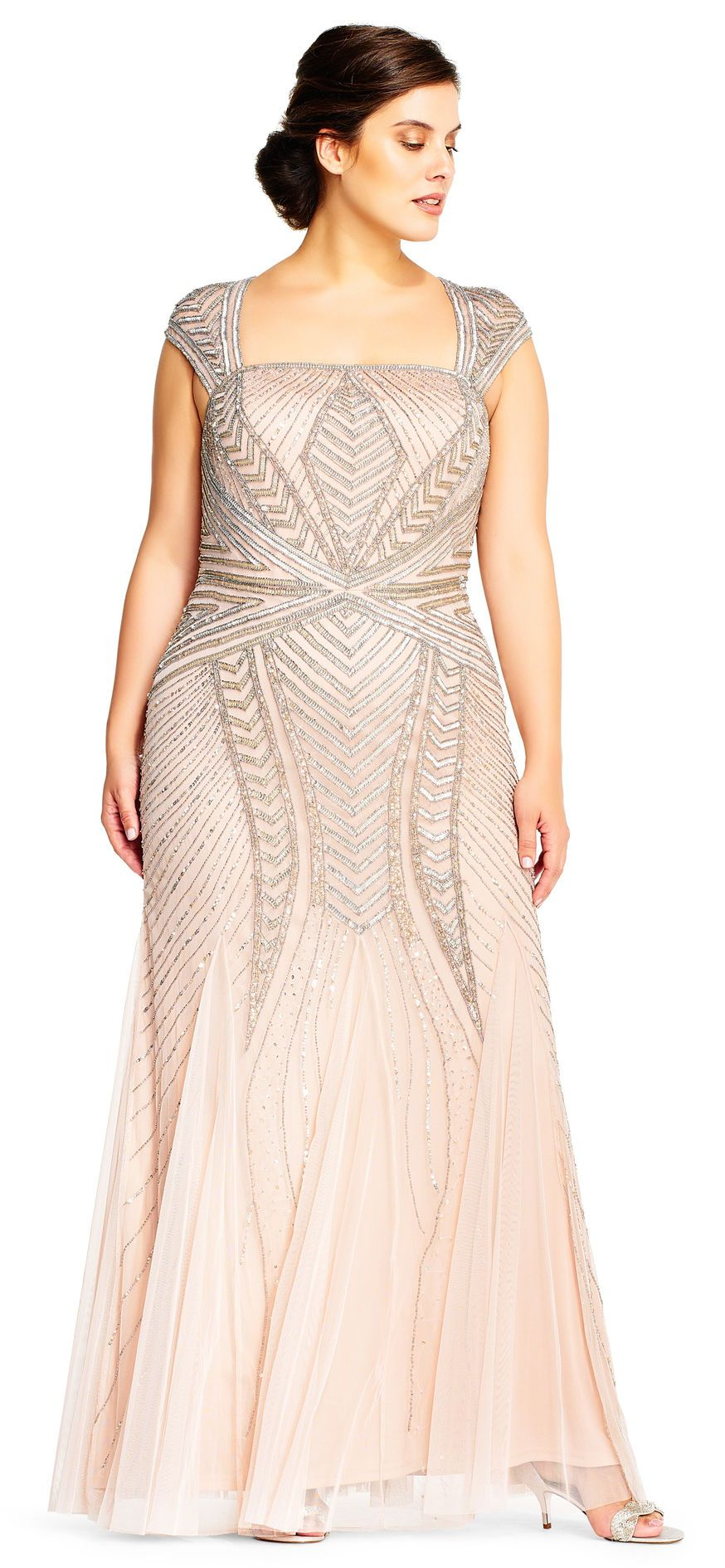 Adrianna Papell Cap Sleeve Beaded Gown With Envelope Back Mother