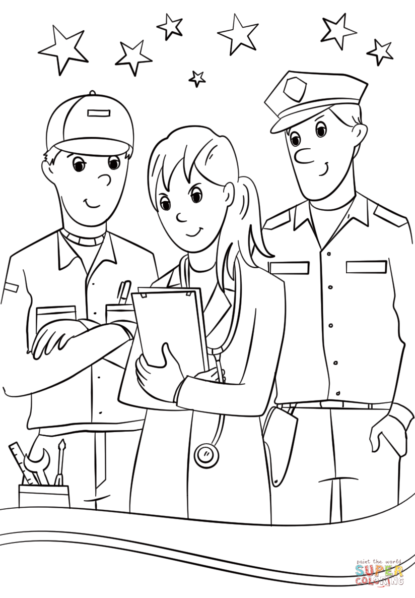 29+ Community workers community helpers coloring pages info