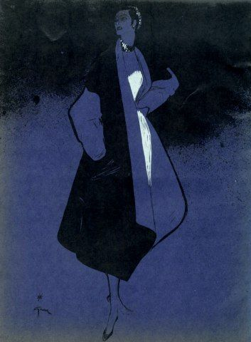 René Gruau 1950  Fashion illustration, Evening Gown, Coat