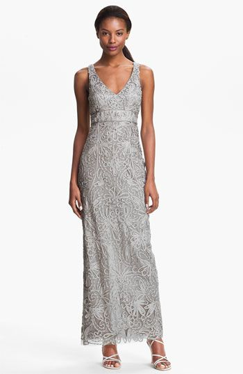 Sue Wong V Neck Embroidery Bead Overlay Gown Available At Nordstrom