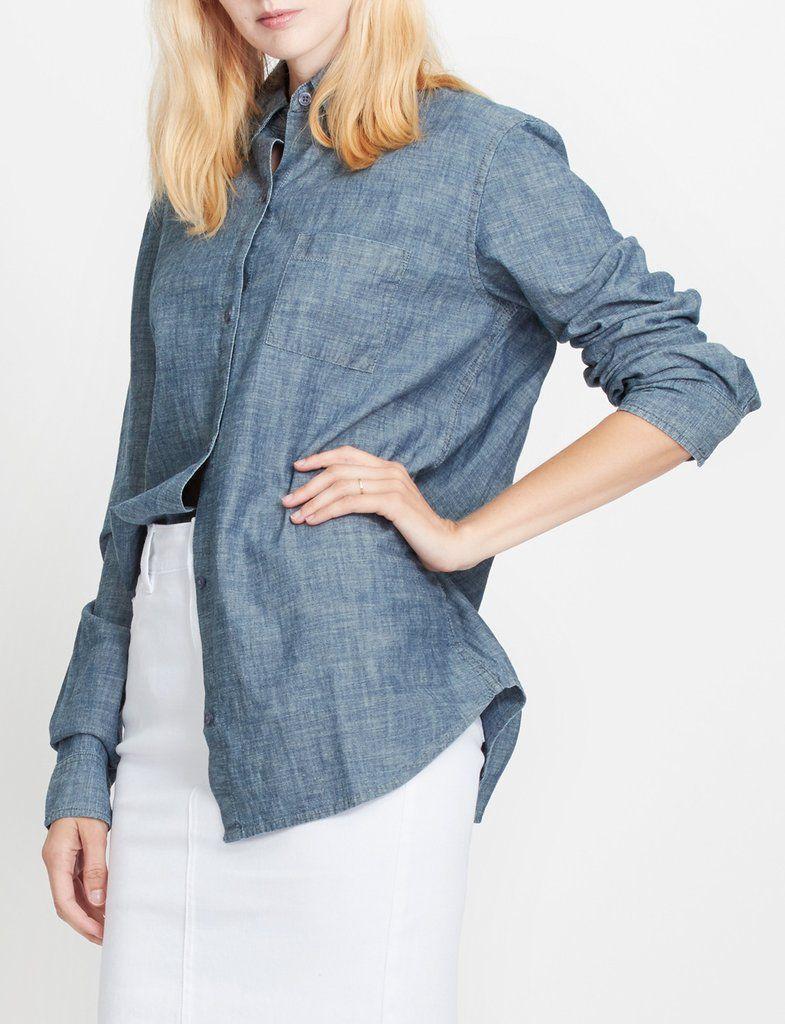 a35920fc LE3NO PREMIUM Womens Classic Long Sleeve Button Down Poplin Boyfriend Shirt