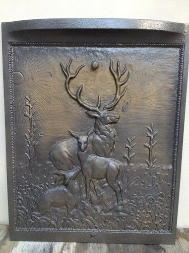 Antique Cast Iron Fireplace Summer Cover With Deer Motif