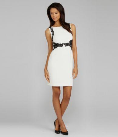 a5aea89167c Tahari Lace-Trim Crepe Dress