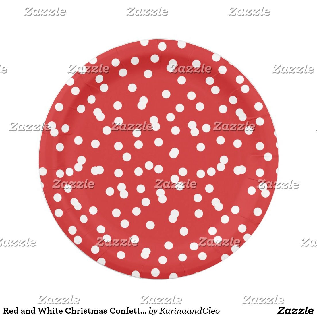Red and White Christmas Confetti Pattern Paper Plate  sc 1 st  Pinterest & Red and White Christmas Confetti Pattern Paper Plate | Pattern paper ...