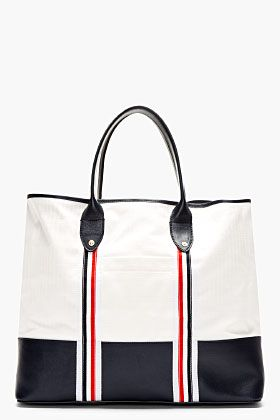 56b4ef96cd THOM BROWNE White & Navy Canvas & Leather Tote | BAGS | Canvas ...