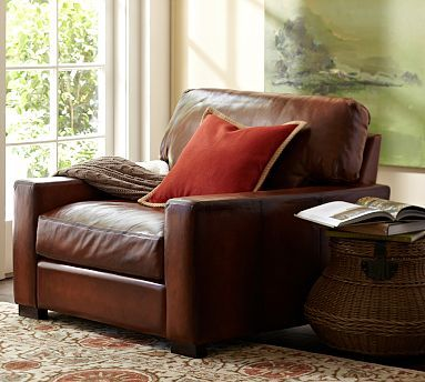 Turner Square Leather Upholstered Armchair Leather Chairs