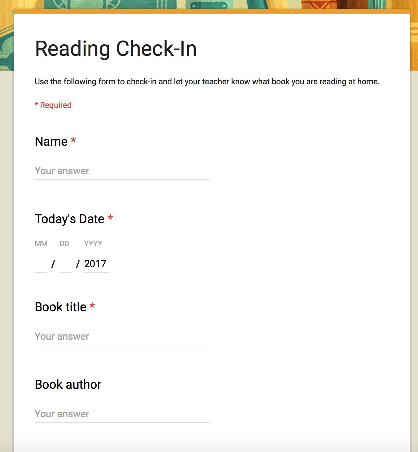 Reading Check In On Forms