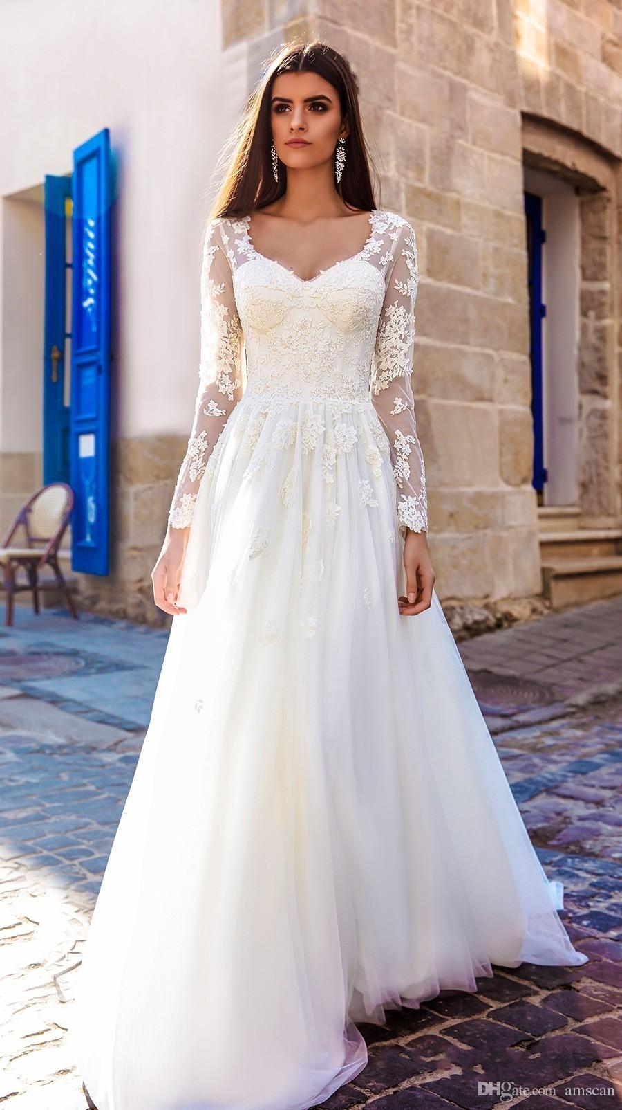 0dfc44f54a 2018 A Line Long Sleeves V Neck Lace Tulle Wedding Gowns Simple Elegant  Appliques Wedding Dresses Plus Size Vestios De Novia Long Sleeves Wedding  Dress Lace ...