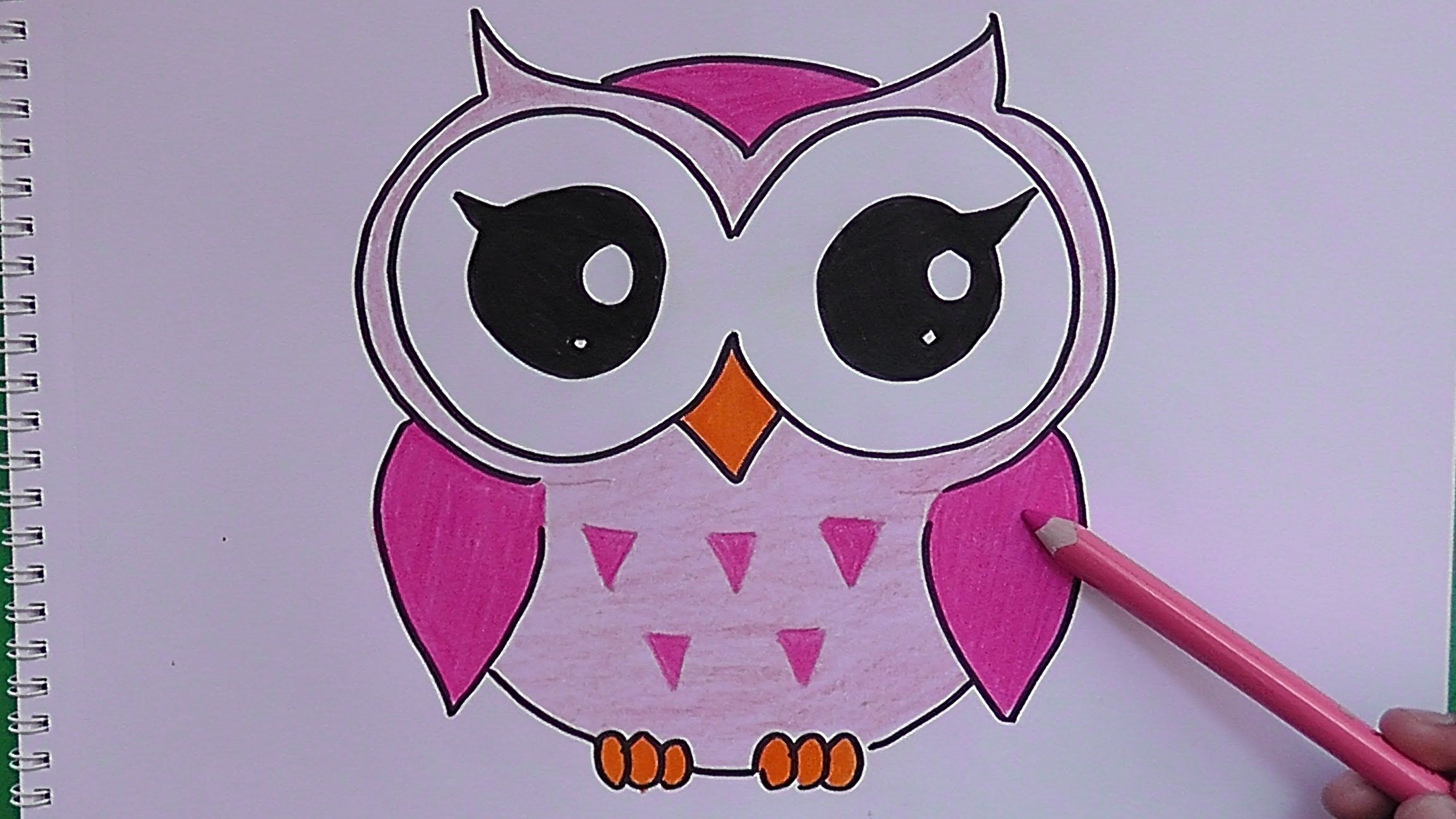 Dibujando Y Coloreando A Buho Rosado Drawing And Coloring Pink Owl