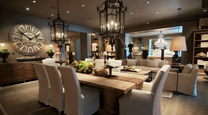 Rustic elegant dining set google search build ideas for Restoration hardware dining room ideas