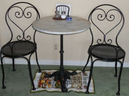 Vintage Cast Iron Bistro Set With Marble Top Table Ebay