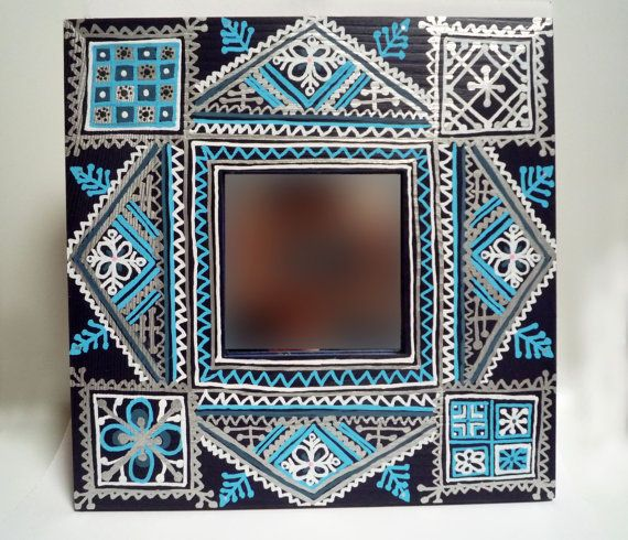 diy painted mirror frame. Moroccan Hand-painted Mirror. Diy Painted Mirror Frame