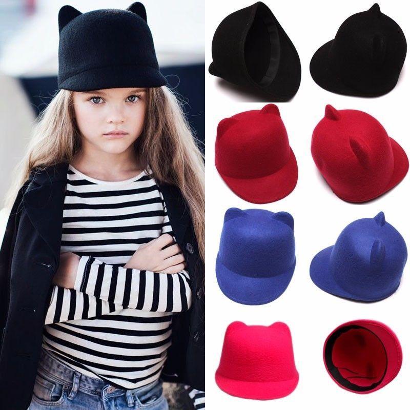 e6904feab7f Baby Girls Boys Kids Fedora Hat Winter Cute Cat Ear Animal Bowler Warm Soft  Caps in Clothing