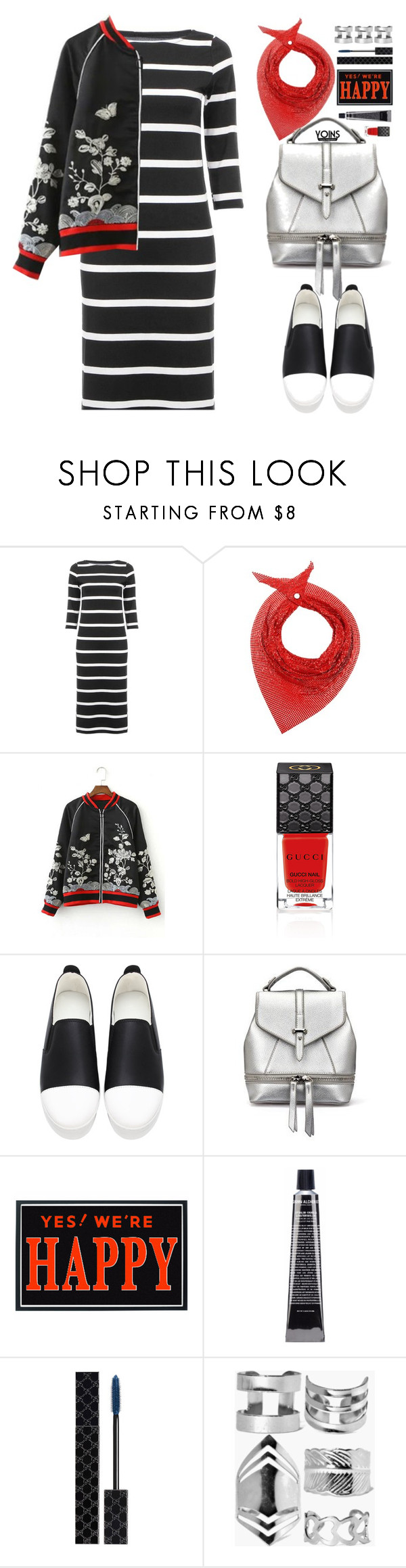 """""""Yoins Casual"""" by beebeely-look ❤ liked on Polyvore featuring Paco Rabanne, Gucci, Grown Alchemist, Boohoo, casual, dress, loafers, bomberjackets and yoins"""