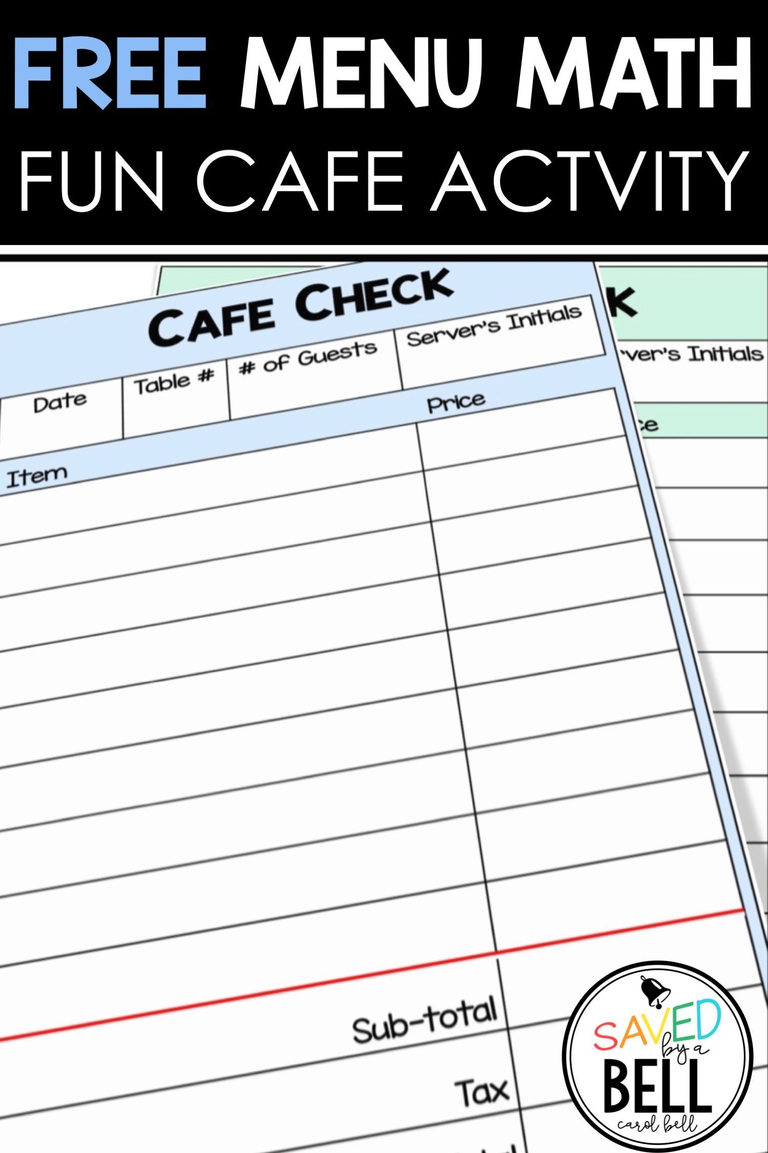 Free Cafe Checks Fun Activity In 2020 Math Activities Special Education Teaching Money Special Education Free