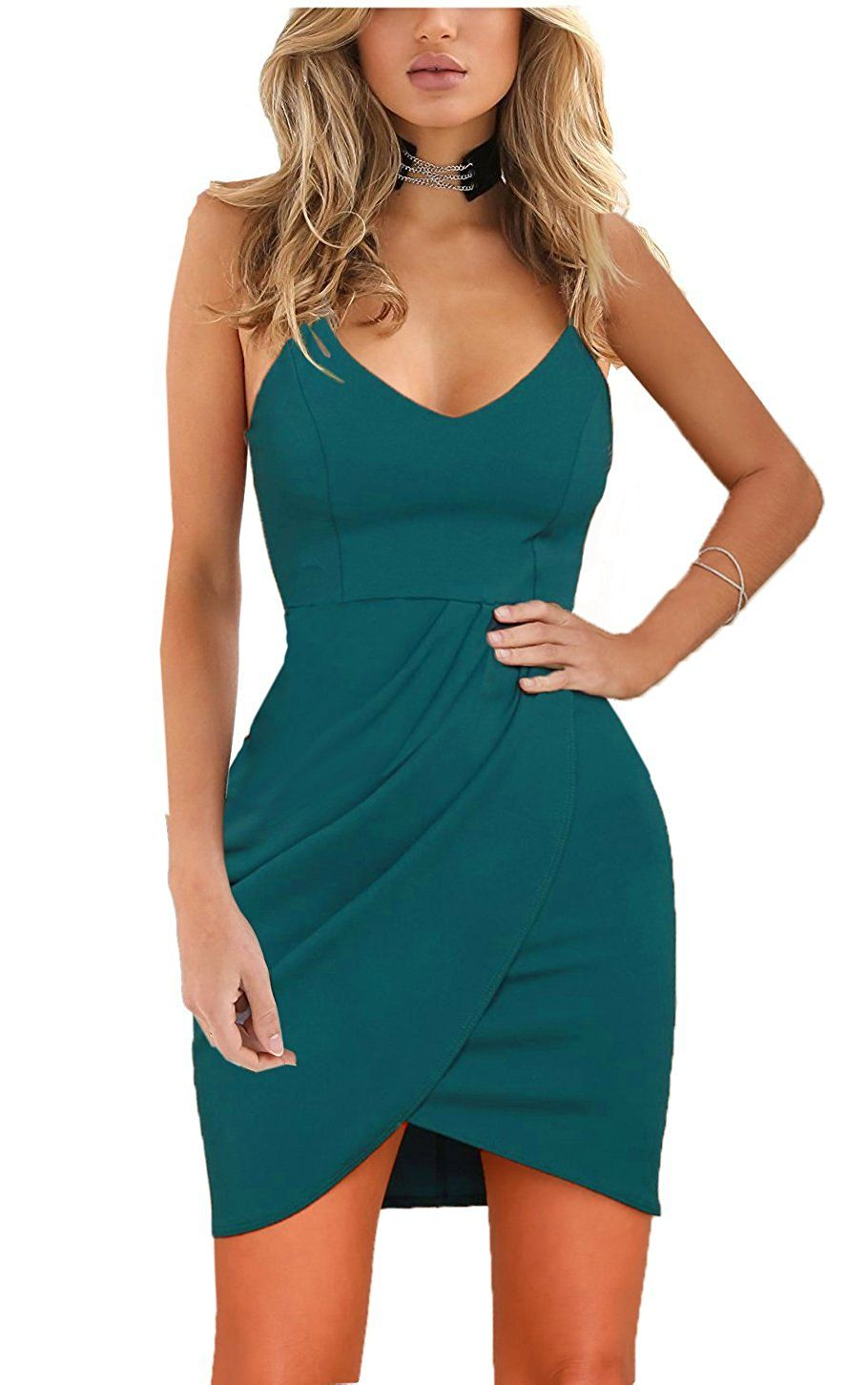 Zalalus Women\'s Bodycon Cocktail Party Dresses Plus Size Deep V Neck ...