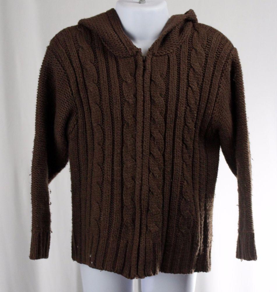 CALVIN KLEIN Jeans 4 T Brown Long Sleeve Hoodie Zip Up Cardigan ...