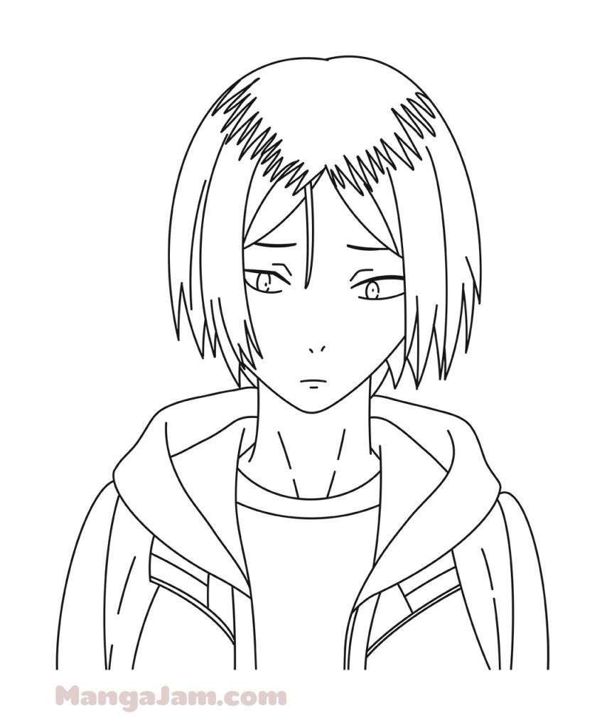 How To Draw Kenma Kozume From Haikyuu Mangajam Com In 2020 Anime Character Drawing Anime Lineart Anime Drawings Tutorials