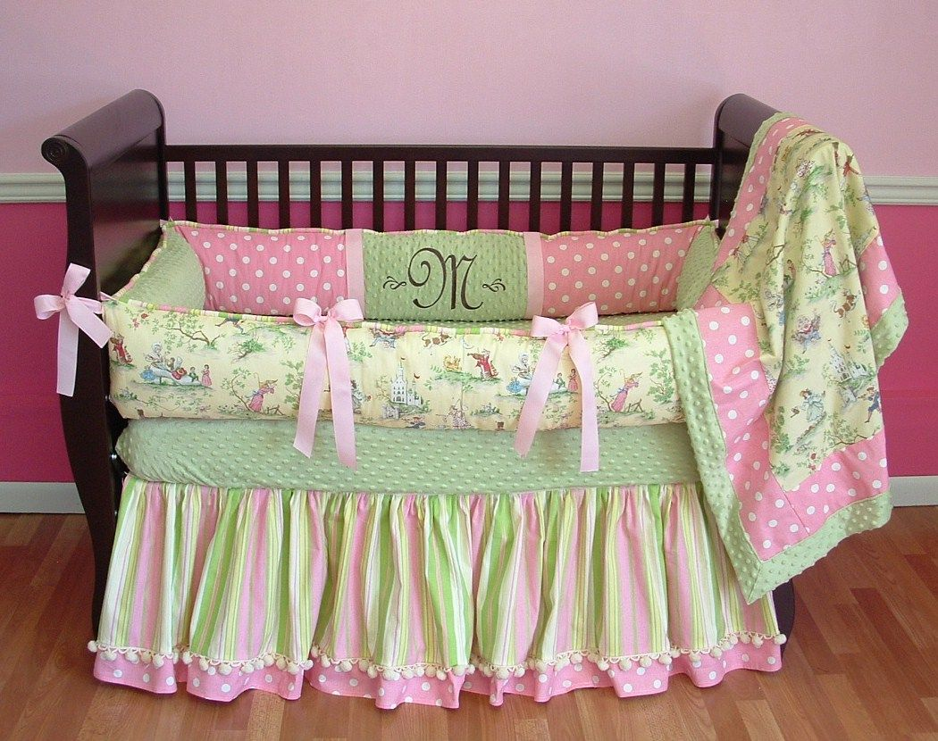 Baby cribs green - Baby Nursery Agreeable Picture Of Girl Baby Nursery Room Design Using Light Pink Green Customized Baby Bedding Including Light Pink Green Baby Bed
