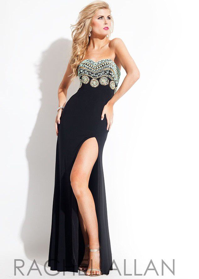 Rachel Allen 2015 black tribal beaded prom dress Bridal Elegance ...