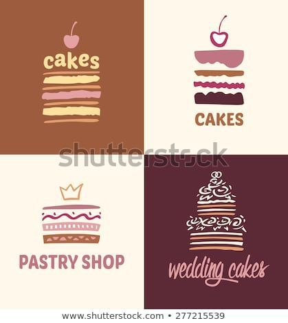 Photo of Set of patterns vector logos cakes. Logo confectionery, coffee shop. Big cakes w…