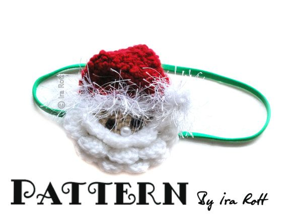 Papa Noel Santa Headband Crochet PDF Pattern   more crochet patterns at : www.irarott.com