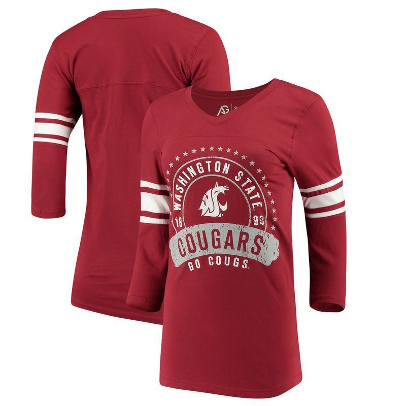 cheap for discount 1d563 72df5 Washington State Cougars Alta Gracia (Fair Trade) Women s Lulu Striped  Football 3 4-Sleeve T-Shirt - Crimson