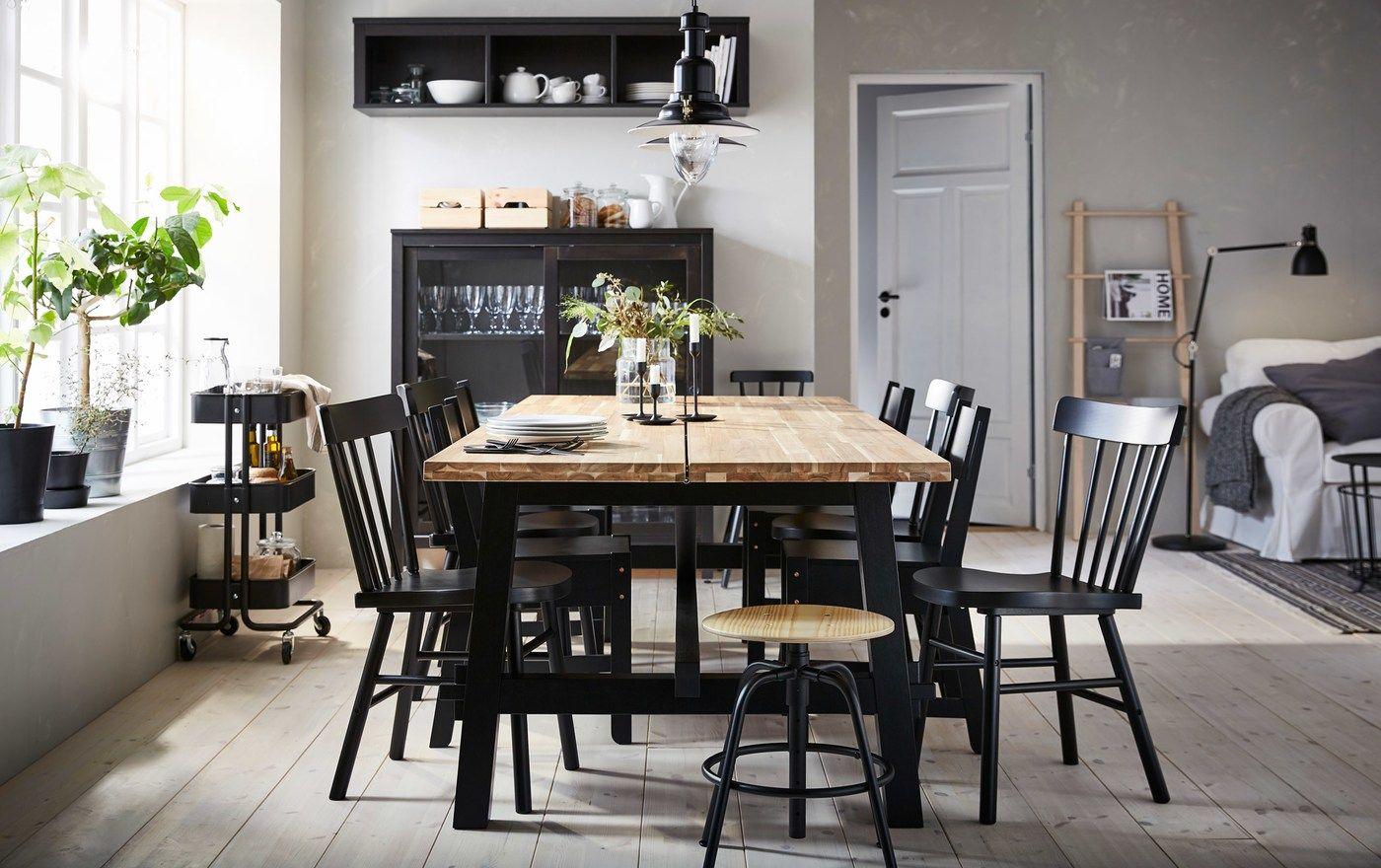 Une Table Qui Reunit Et Pour Longtemps Salle A Manger Ikea Salle A Manger Beige Table Salle A Manger