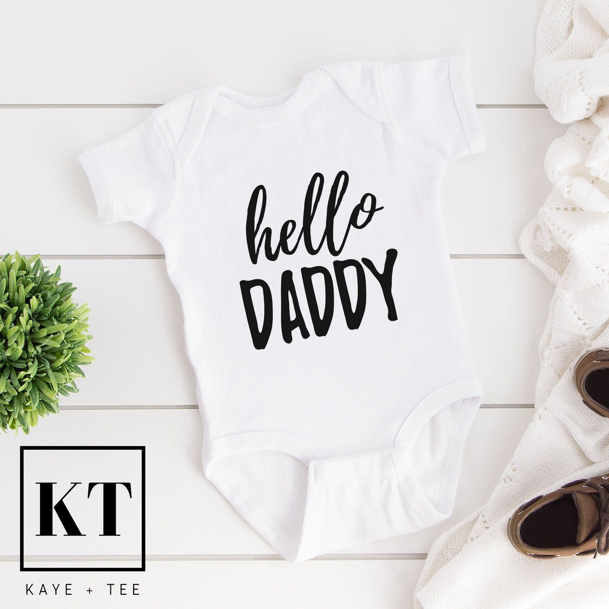 Pregnancy Reveal Hello Daddy Custom Baby Gerber Onesie New daddy Pregnancy Announcement Made to Order