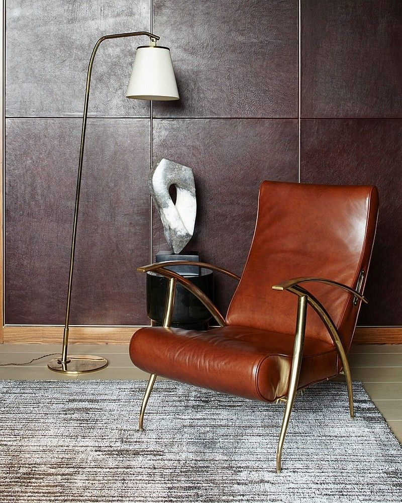 masculine decor bachelor pad mid century modern leather chair tribeca nyc - Mid Century Modern Furniture Nyc