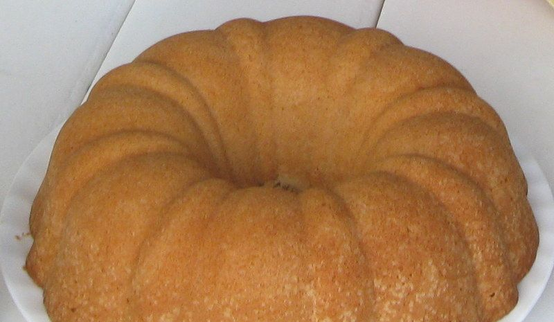 My Grandmother's pound cake recipe. This was my favorite dessert when I was growing up. I especially love it when the edges get all crusty and crunchy; I could eat the whole outside of the cake and leave the inside part. (And I have, too.) The recipe is super easy and very versatile. It holds up well in shaped cake pans since it's a dense cake.